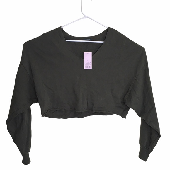 Women's V-Neck Pullover Cropped Sweatshirt Olive NWT